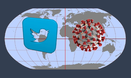 Twitter + Covid symbols in front of a globe.